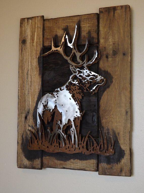 Bull Elch rustikale 3D-geschichtete Medaille Kunst auf Altholzrahmen, Tierwelt, Hütte, Dekor, Jagd, Hölzer, handgefertigt, original, Lodge, Hirsch,
