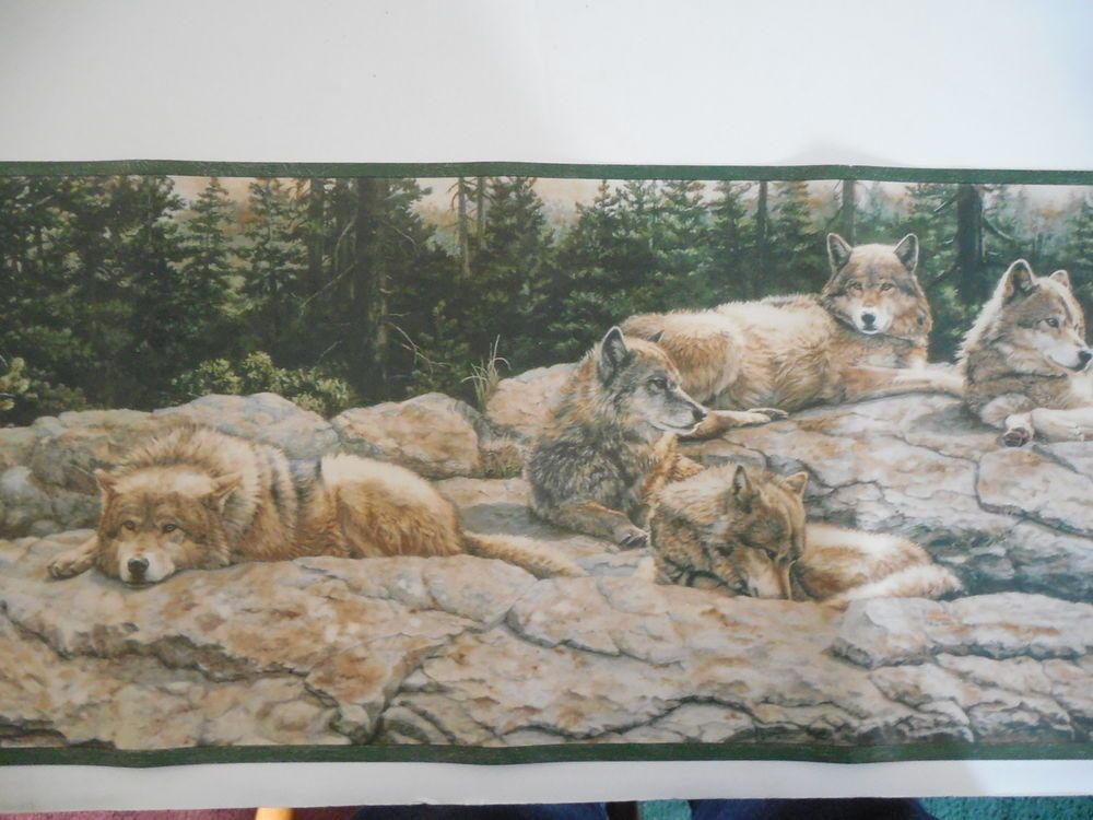 "Wolves Wallpaper Border 15' X 10"" NEW Village Wolf"