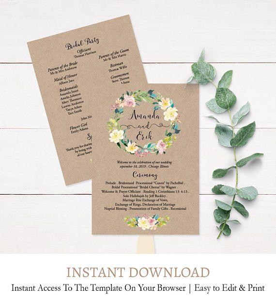 Kraft Wedding Fan Program Template Kraft Floral Wreath Editable - Editable wedding program templates