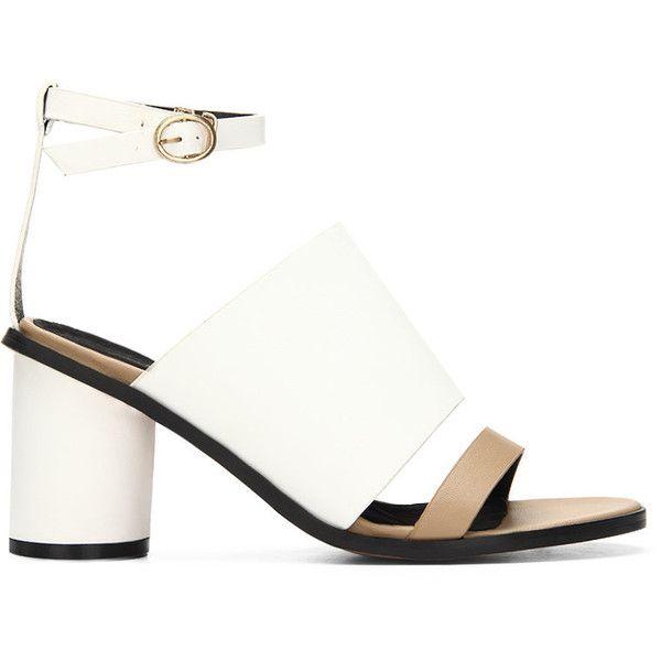 265af3c120d Yoins White Leather Look Peep Toe Round Heel Ankle Strap Sandals (14 KWD) ❤