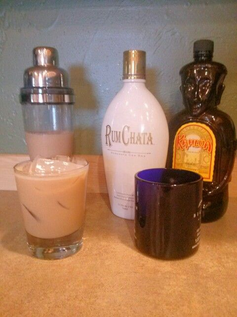 Our version of Coffee Martini.  1.5Oz. Coffee, 1oz. Kahlua, 1oz. Rum Chata.  Mix and pour over ice!!!  Yum fricken yum!!!