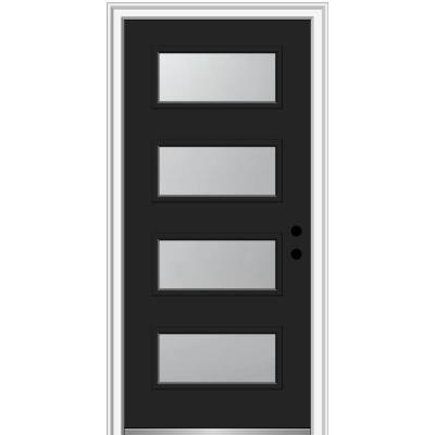 Mmi Door 36 In X 80 In Celeste Left Hand Inswing 4 Lite Frosted Glass Painted Steel Prehung Front Door On 6 9 16 In Frame Black In 2020 Aluminum Screen Doors Wood Exterior Door Vinyl Screen Doors