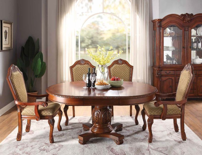 Acme 64170 4077 78 5 Pc Astoria Grand Liam Chateau De Ville Ii Cherry Finish Wood Round Oval Pedestal Dining Table Set Furniture Dining Table Pedestal Dining Table Dining Table