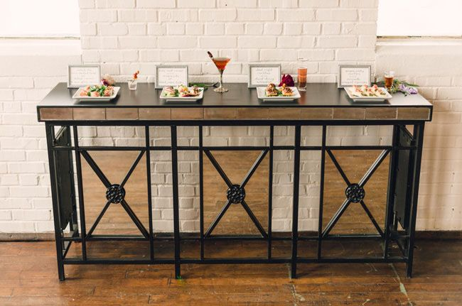 Mirrored buffet table.