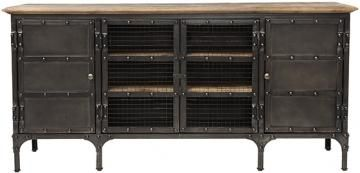 ambrose tv stand, two solid doors and two wire mesh doors