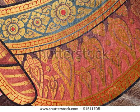 stock photo : Wall art painting and texture in temple Thailand. painting about Ramayana epic story.