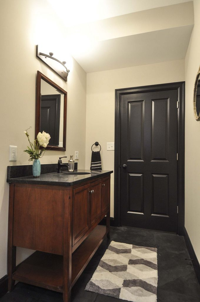 Hall bathroom, dark brown painted trim and doors, dark ...