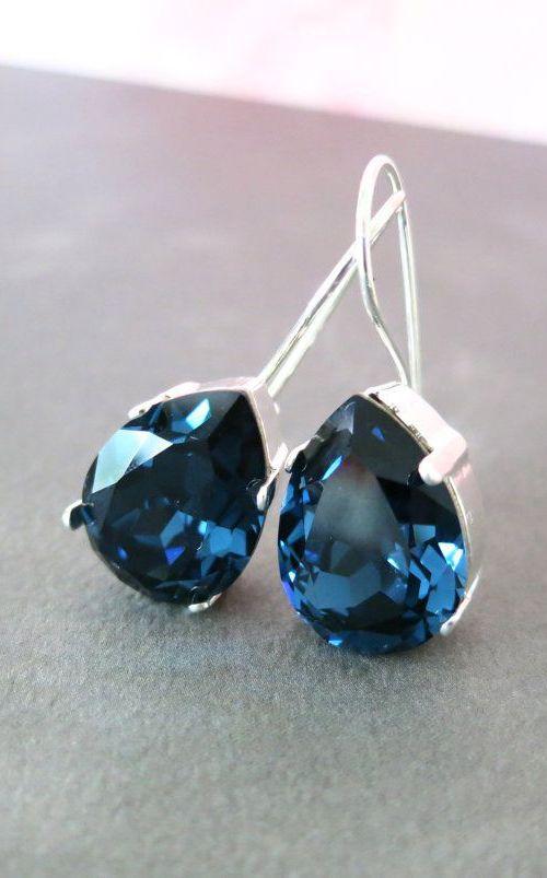 Ourania Simple Swarovski Crystal Teardrop. Love these.