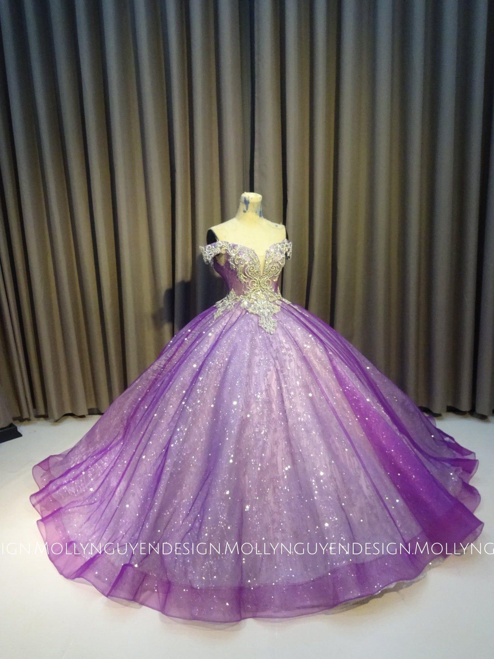 Sparkly Purple Gown Purple Wedding Gown Modern Evening Wear Lace Ballgown Custom Made Purple Wedding Gown Purple Gowns Purple Quinceanera Dresses [ 2119 x 1588 Pixel ]
