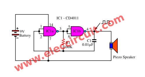 simple tone generator circuit using inverter logic mini rh pinterest com 555 Tone Generator Schematic 555 Tone Generator Schematic