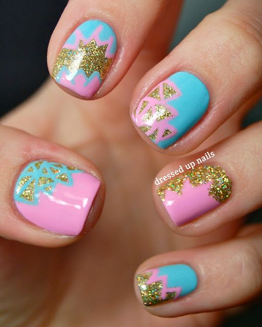 248 Creative Nail Art Designs For Girls Looking To Up: Pastel Geometric Design By Dressed Up