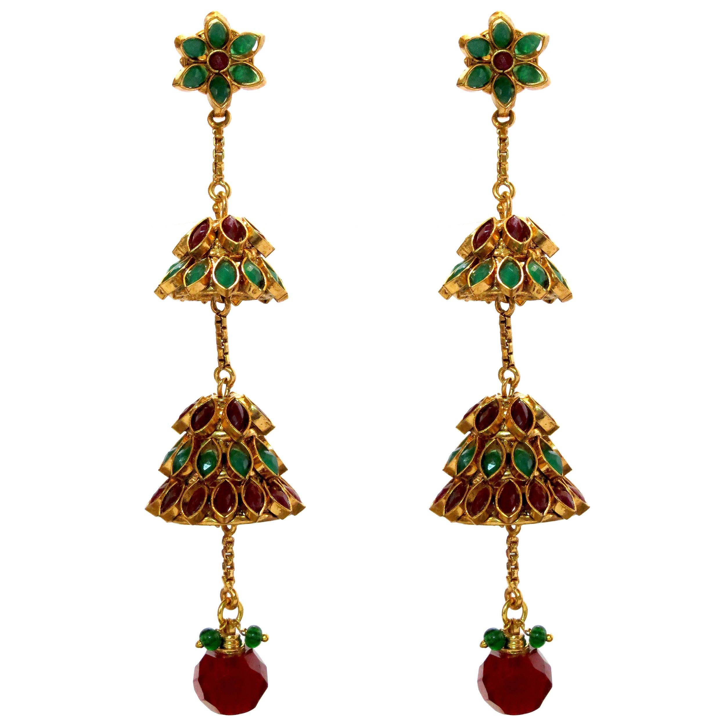 Scintillating Pair Of Jhumki Earrings With pachi work