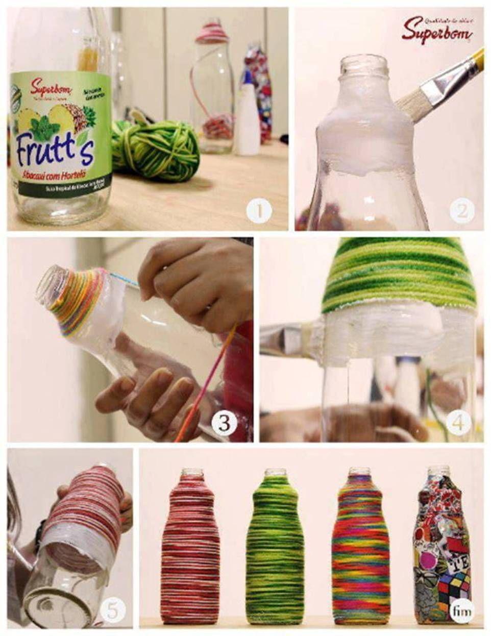 Envases Plasticos Y Lana De Colores Botellas De Hilo Manualidades Con Botellas Manualidades