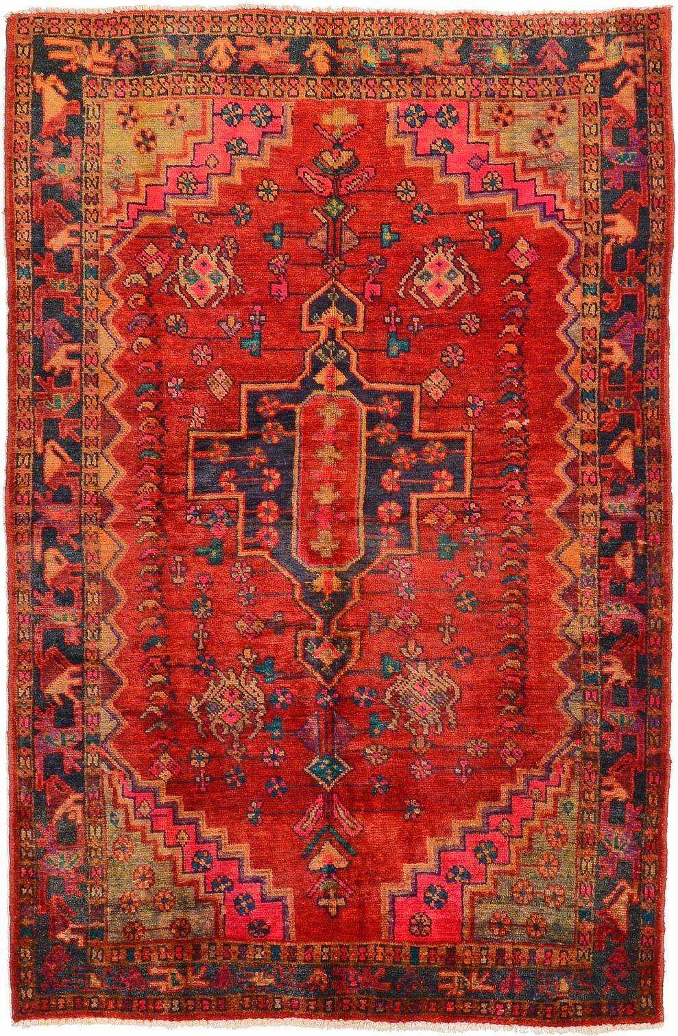 appealing living room persian carpet | Red 5' 1 x 7' 9 Hamedan Rug | Persian Rugs | eSaleRugs