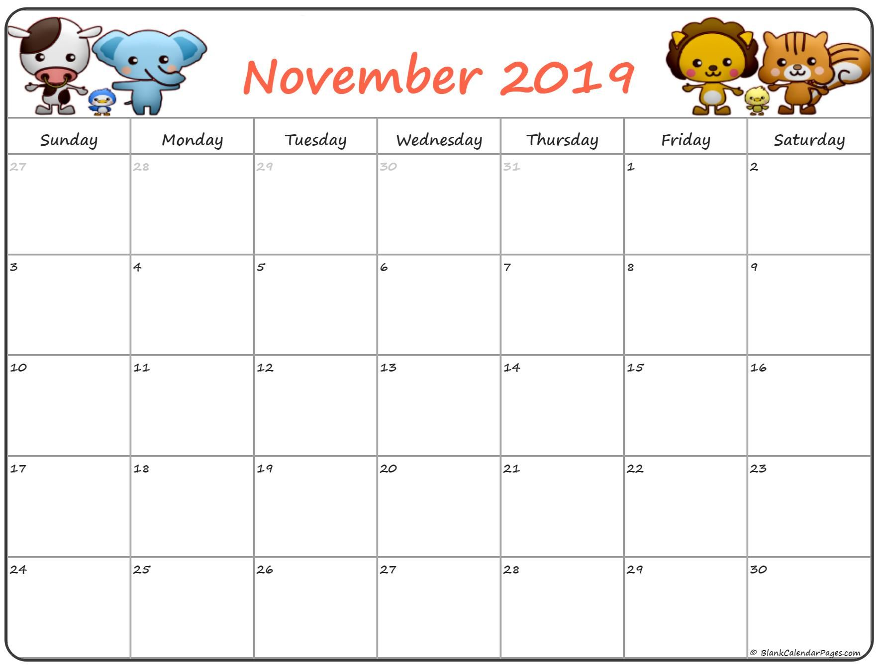 Cute November 2019 Calendar Printable Editable Template