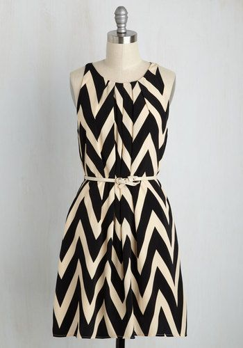 Great Wavelengths Dress in Black - Chevron, Belted, Casual, A-line, Sleeveless, Crew, Tan / Cream, Full-Size Run, Mod, Scholastic/Collegiate, Top Rated, Colorsplash, Mid-length, Black, Print, Woven, Good, Work