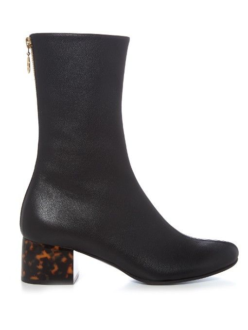 2dc991ed18d0 Stella McCartney Tortoiseshell block-heel faux-leather boots