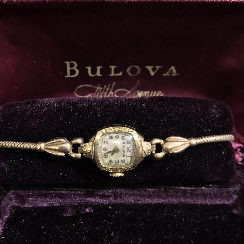 Vintage Bulova Ladies Watch 10k Gold Filled Wristwatch W Original Box Or Case Accesorios