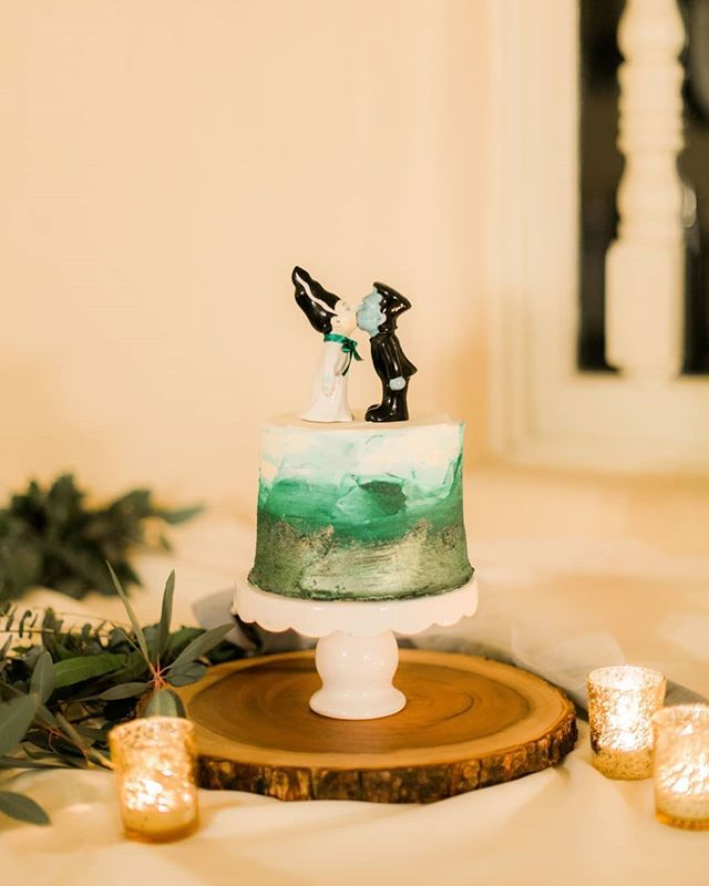 Fun and unique wedding cake with little Frankenstein cake topper ...