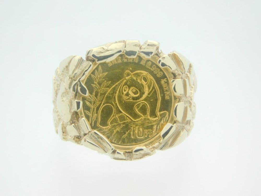 1990 Panda Coin Nugget 10k Yellow Gold Ring 37294 Gold Rings Yellow Gold Rings Yellow Gold