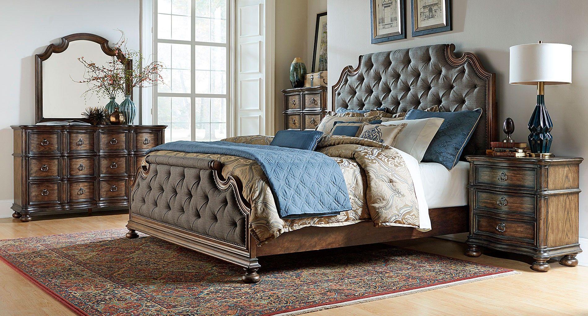 Tuscan valley upholstered bedroom set bedroom by furniturecart