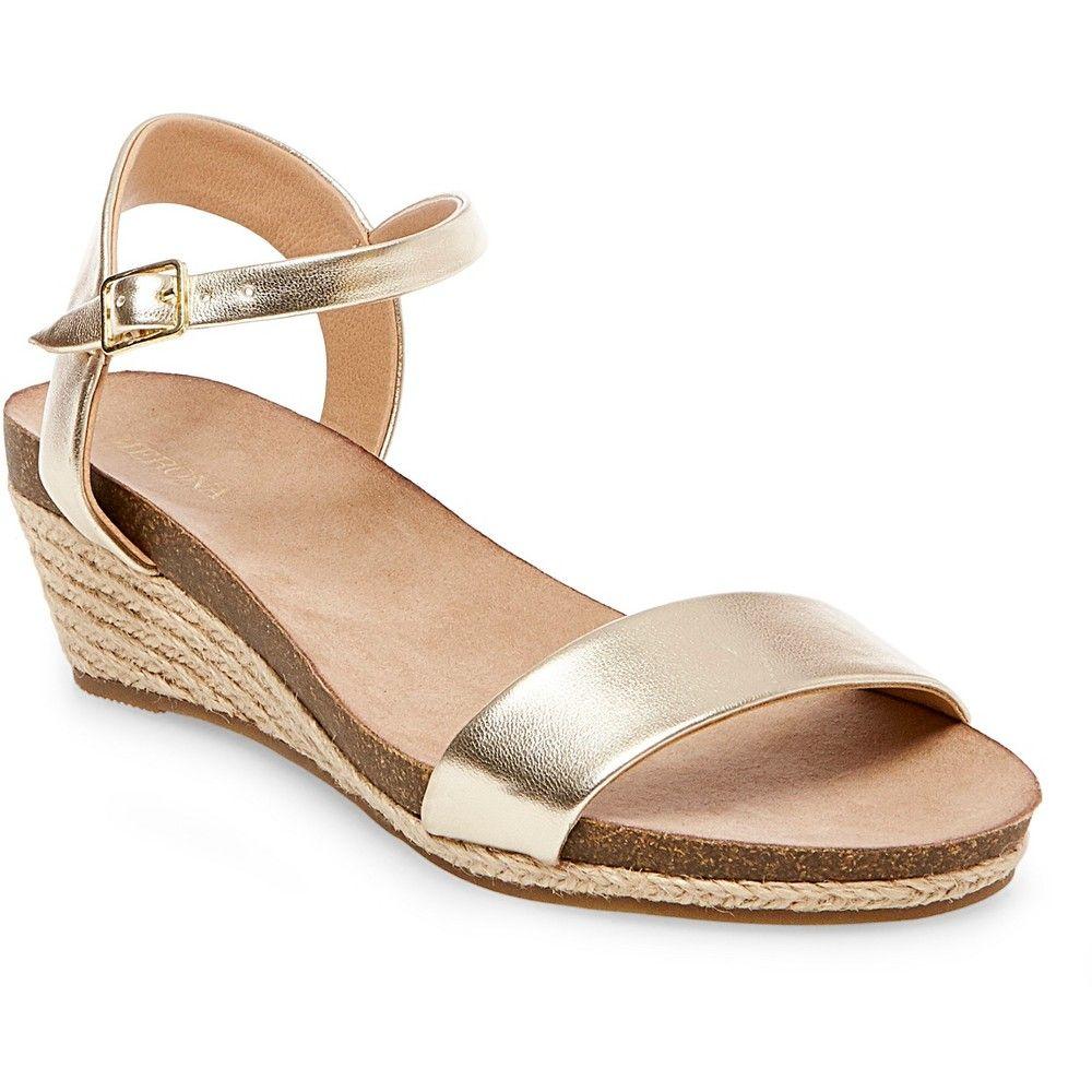 48ca6705f63 Women's Eve Footbed Wedge Quarter Straps Sandals Merona - Gold 9.5 ...