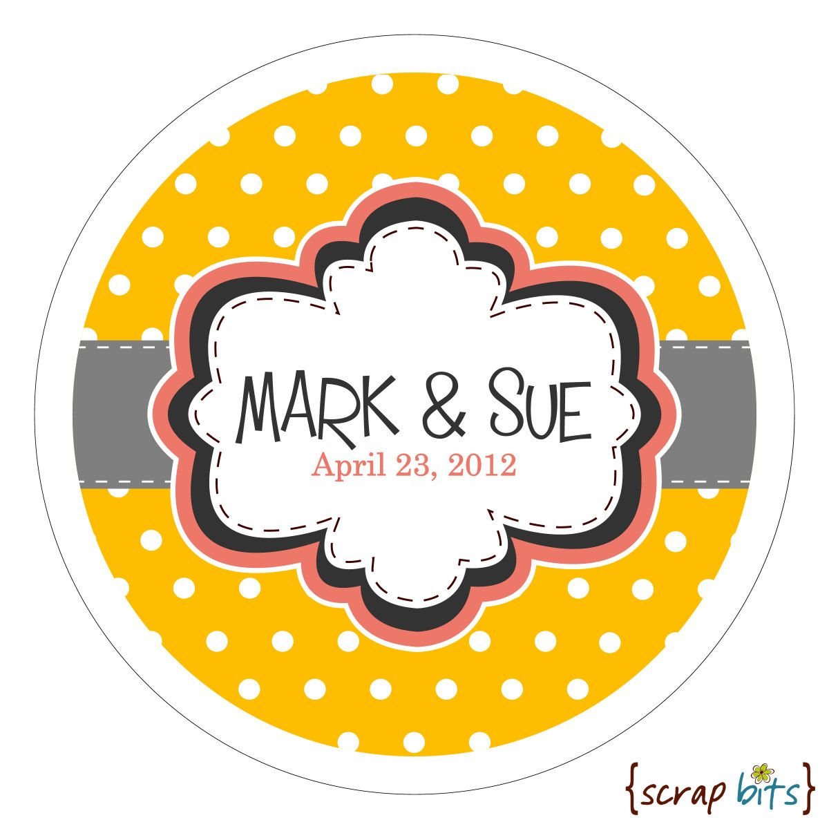 Personalized Wedding Stickers . Frame on Tiny Dots Round Stickers ...