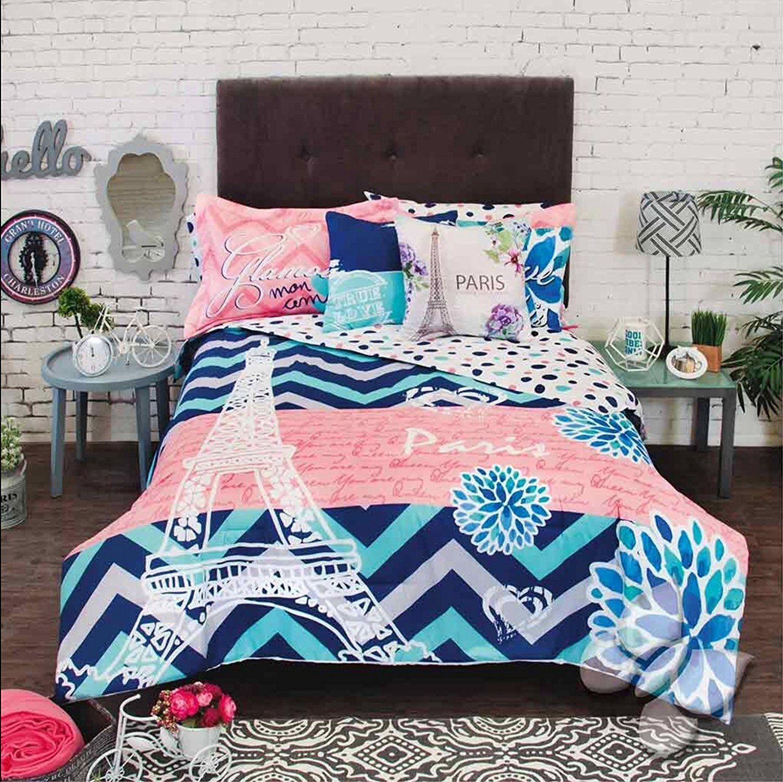 New Girls Teens Blue Coral Eiffel Tower Paris Reversible Comforter