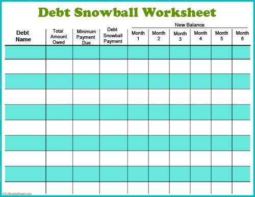 Free Printable Debt Worksheet