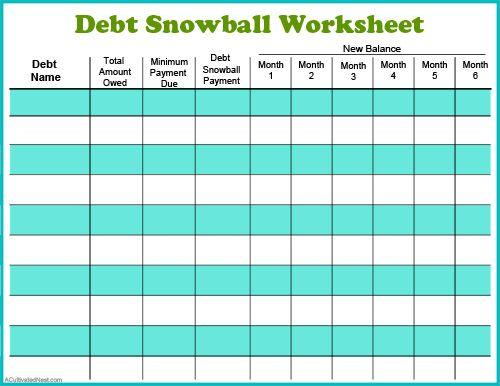 Debt reduction worksheet pdf