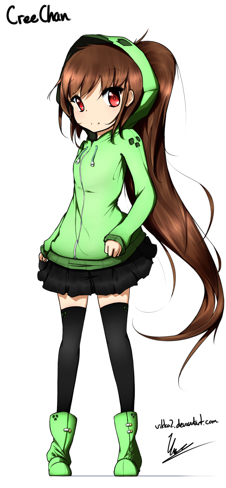 Creechan redrawn by on deviantart - Creeper anime girl ...