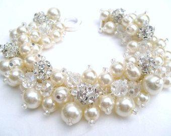 Joyería nupcial, boda, de la Perla pulsera de Dama de honor, perla y diamantes de imitación pulsera, pulsera, pulsera de la perla, joyería de perlas marfil del racimo