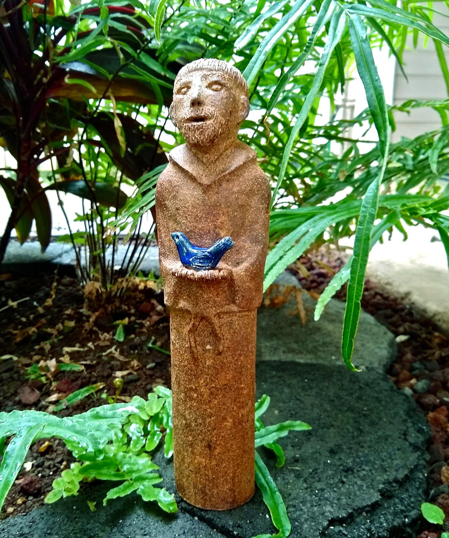 St Francis W Bird Hand Built Ceramic Statue No Cast Garden Sculpture Patron Of Animals Nature Original H St Francis Statue Patron Saint Of Animals Statue