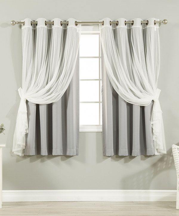 Look At This Gray Tulle Blackout Short Curtain Panel Set Of Four On Zulily Today
