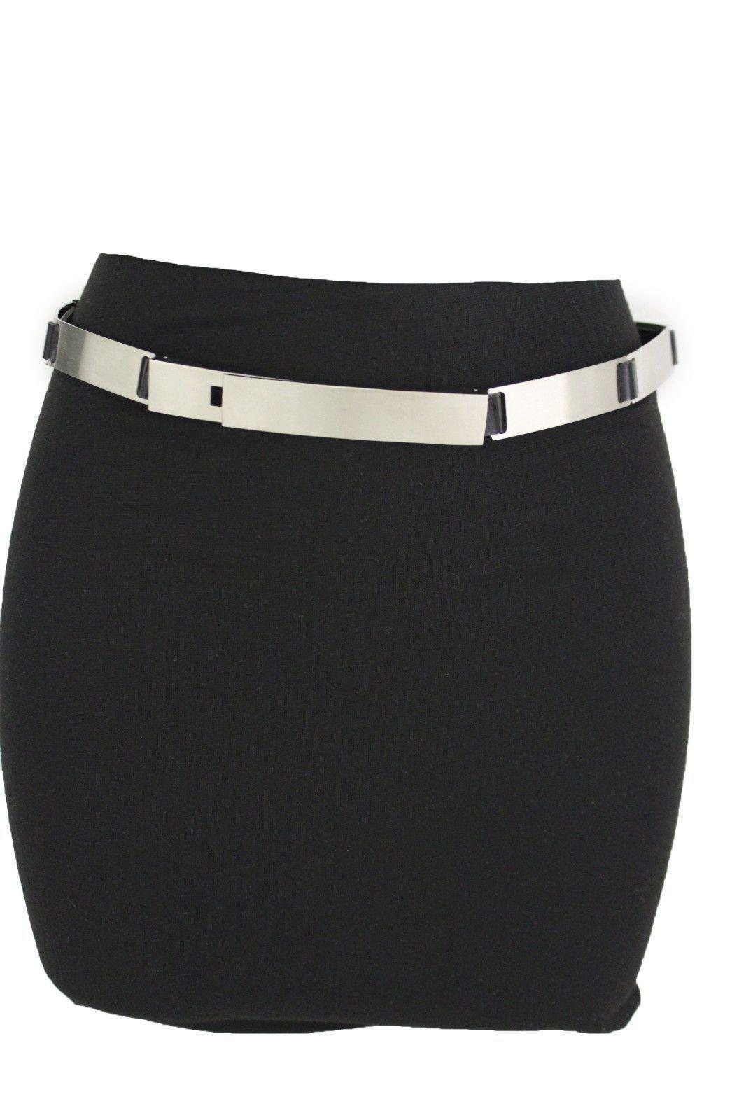 Women Black Fashion Stretch Hip High Waist Belt Silver Metal Plate Buckle S M