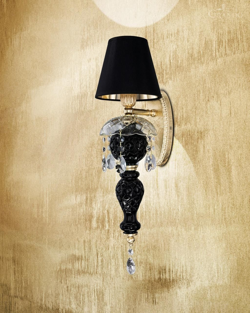 Wall lamps Olympia AP gold leaf black crystal wall lamp light
