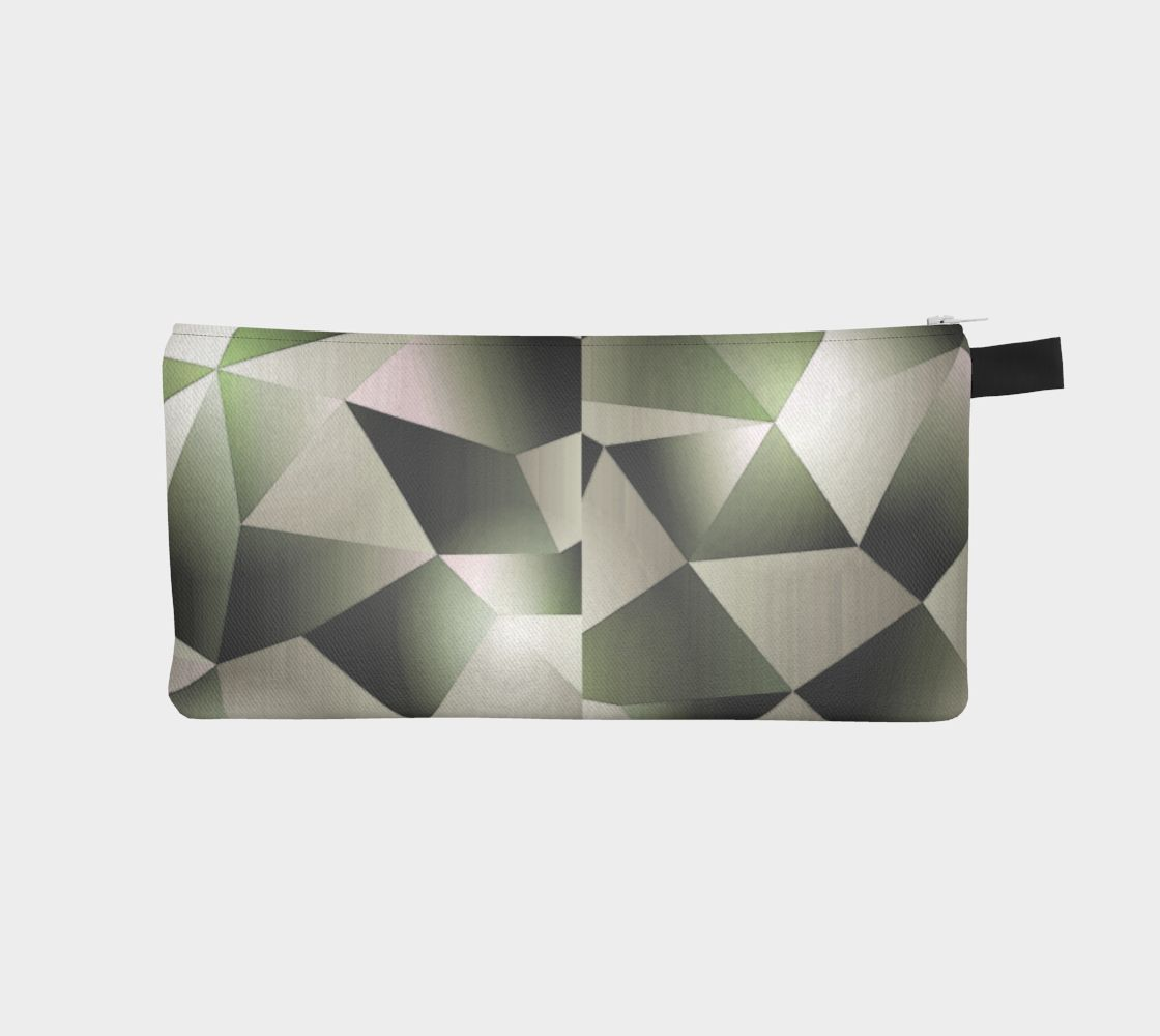 Fractal _ Olive Geometric Pencil Cosmetic Zip Case - Printed Graphic Zipper Pouch Clutch