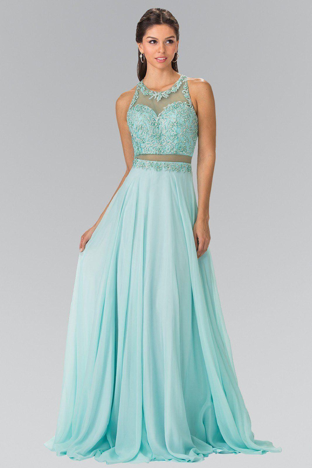 Sexy illusion 2 piece cheap long chiffon prom dress #Gl2347 ...