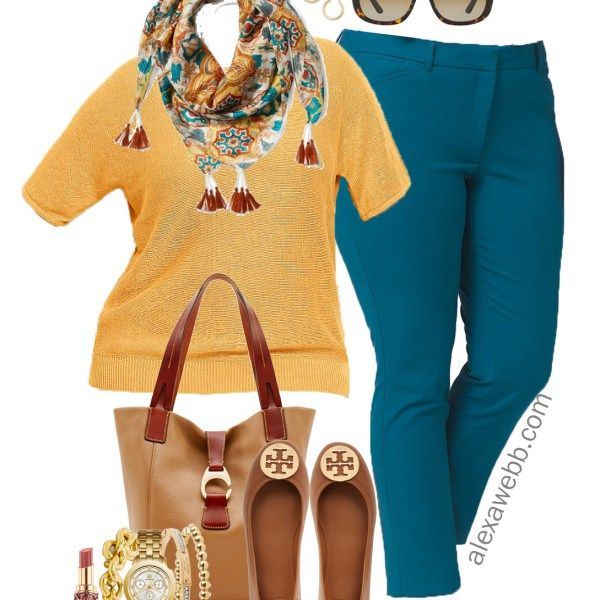 Plus Size Fall Transition Work Outfit is part of Clothes Fall Plus Size - Transition from summer to fall in this plus size work outfit of rich jewel and earth tones  I enjoy using color, especially at the office  One can only wear so many black, white, grey, and navy outfits! Switch things up with a pair of teal trousers, which are currently marked down! If you aren't sure… Read More