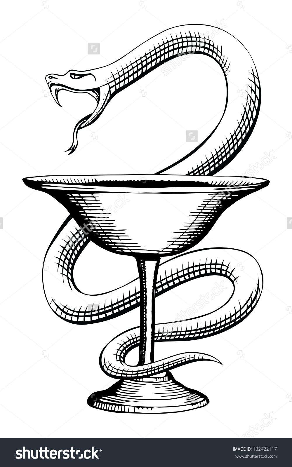 pharmacy snake and cup medical symbol is a vintage style