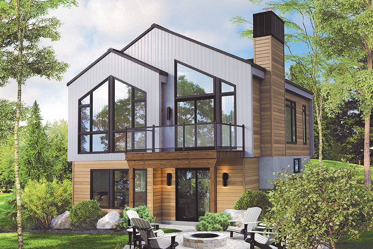 House Plan 963 00419 Lake Front Plan 1 014 Square Feet 2 Bedrooms 1 Bathroom In 2020 Modern Lake House Small Lake Houses Lake Houses Exterior