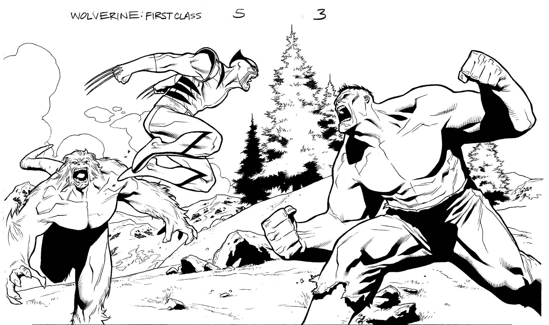 Coloring pages wolverine x men - Wolverine Vs Hulk Vs Wendigo By Clayton Henry