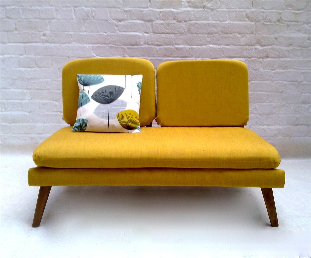Mustard Yellow Mid Century Mod Couch Furnitures