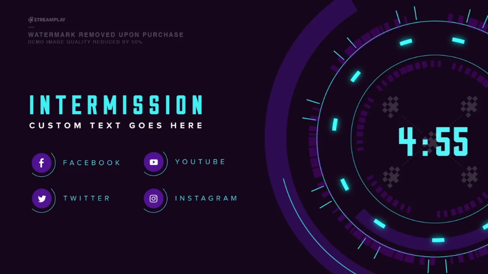 Countdown Starting Soon Intermission Overlay Streamplay Graphics Youtube Banner Design Countdown Youtube Banners