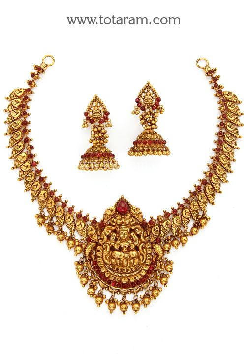 fb7ad5ae75 22K Gold 'Lakshmi' Necklace & Earrings Set (Temple jewellery) | 22 ...