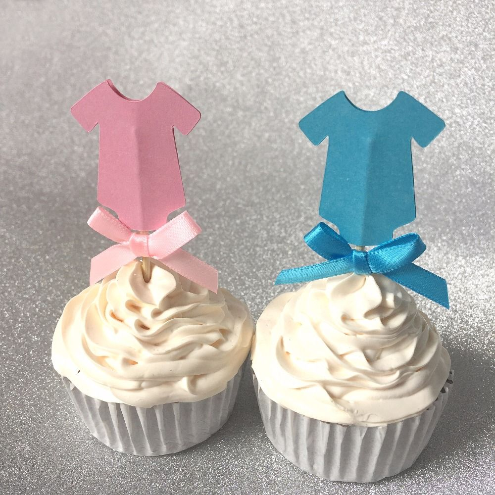 Baby girl and boy shower cake toppers24 pink or blue