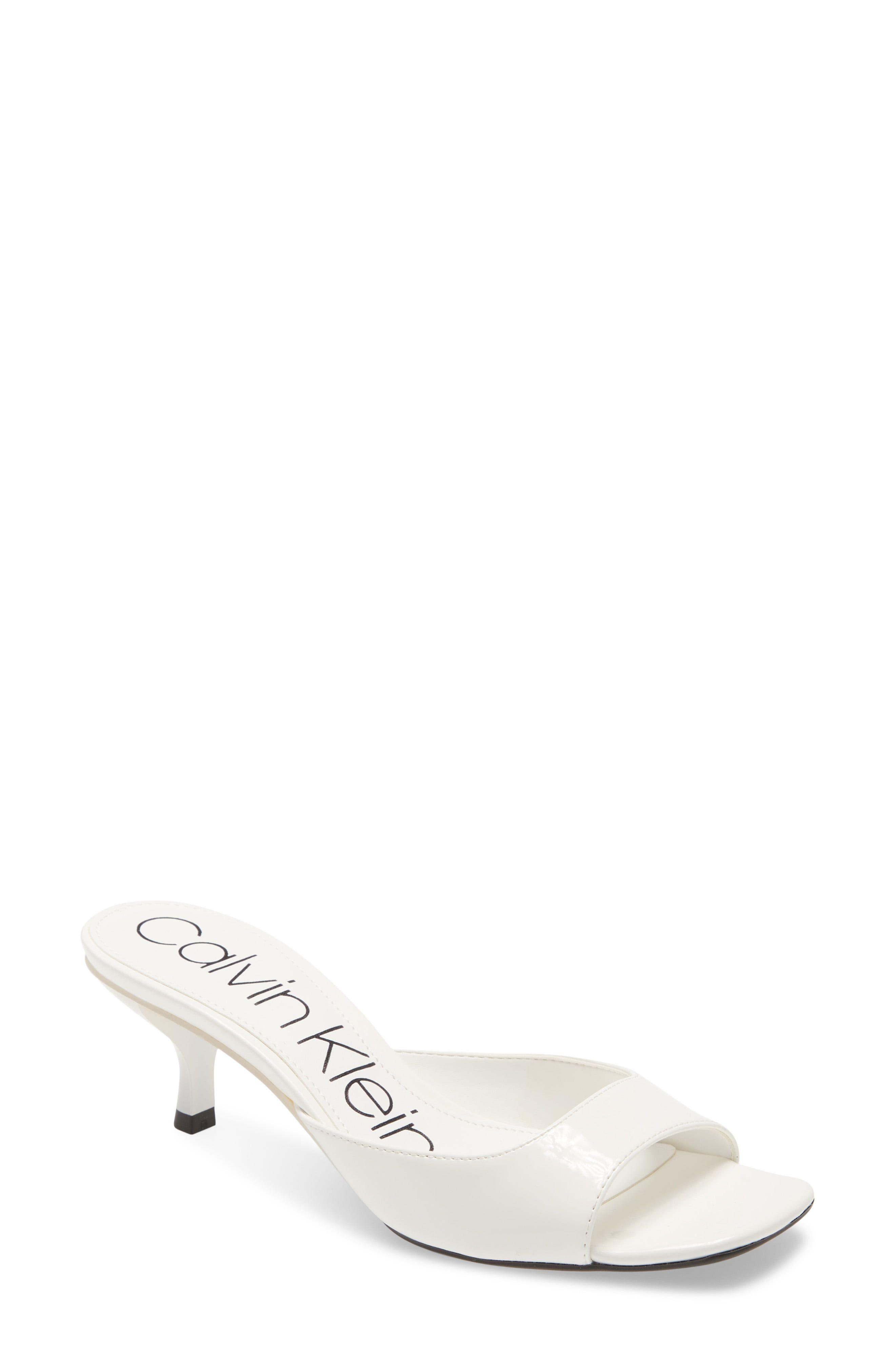 Women S Calvin Klein Mega Kitten Heel Slide Sandal Size 9 M White In 2020 Kitten Heels Heels Kitten Heel Sandals