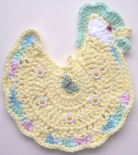 Crocheted Chicken Rooster Potholder Made From Cotton Yarns