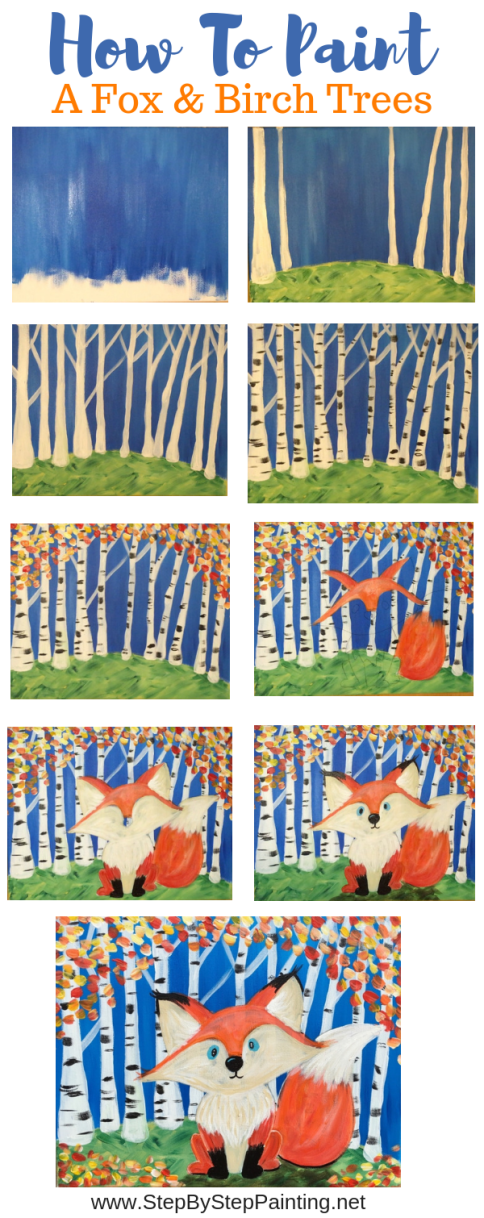 How To Paint A Fox and Birch Trees - Step By Step Painting