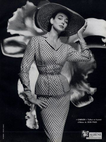 I Absolutely Love This Whole Set Including The Hat, Gorgeous - Carven 1954 Photography by Guy Arsac